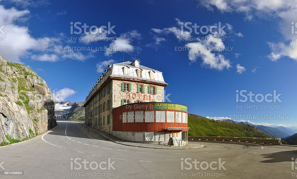 XXL Panorama Hotel Belvedere, Furka Pass in Wallis - Switzerland stock photo