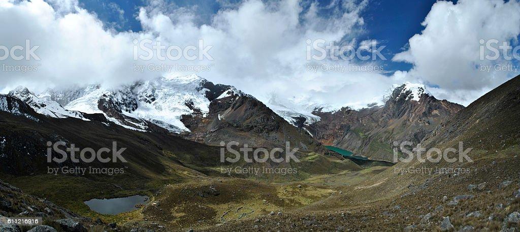 Panorama Huapi pass overviewing two valleys, Tullparahu and Pukaranra, Peru. stock photo
