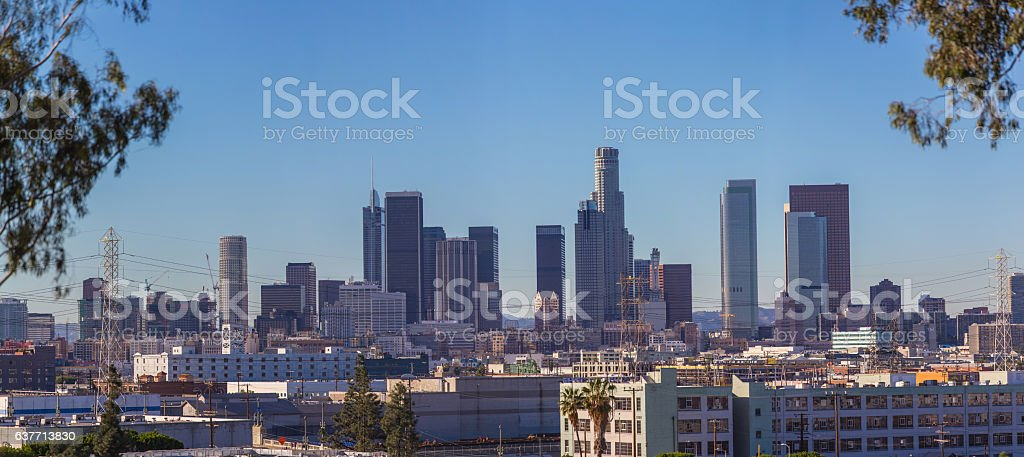 Panorama image of Downtown Los Angeles stock photo