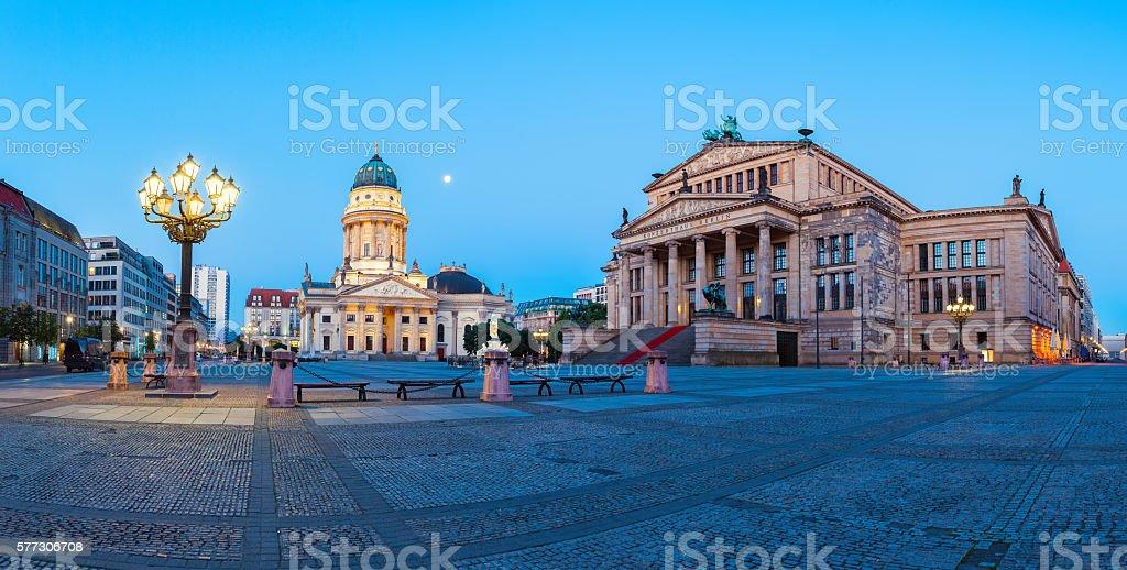 Panorama image of Gendarmenmarkt square in Berlin stock photo