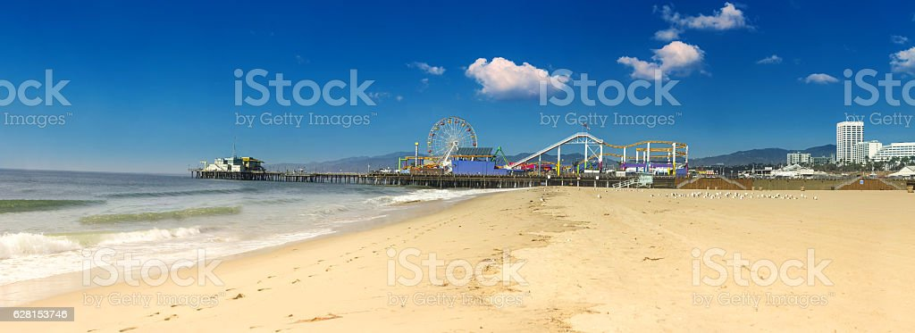 Panorama image of the Santa Monica pier with no people stock photo