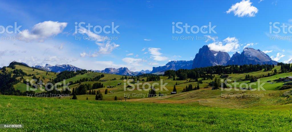 Panorama image of the Seiser Alm or Alpe di Siusi, stock photo