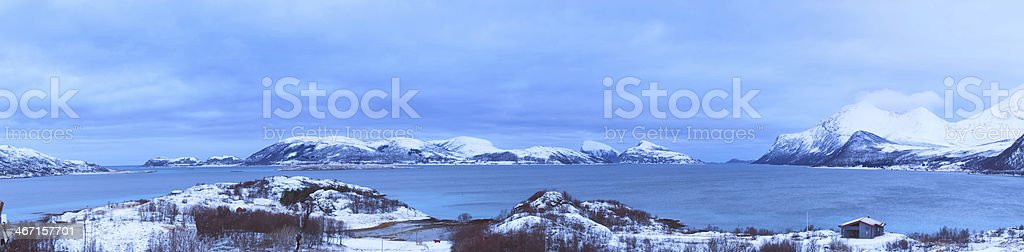 Panorama in a fjord stock photo