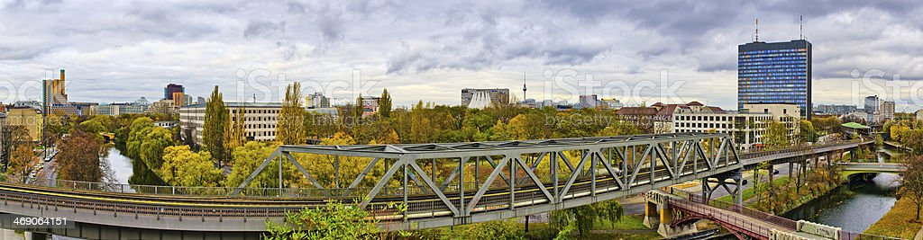 Panorama in Berlin with railroad on first plane stock photo