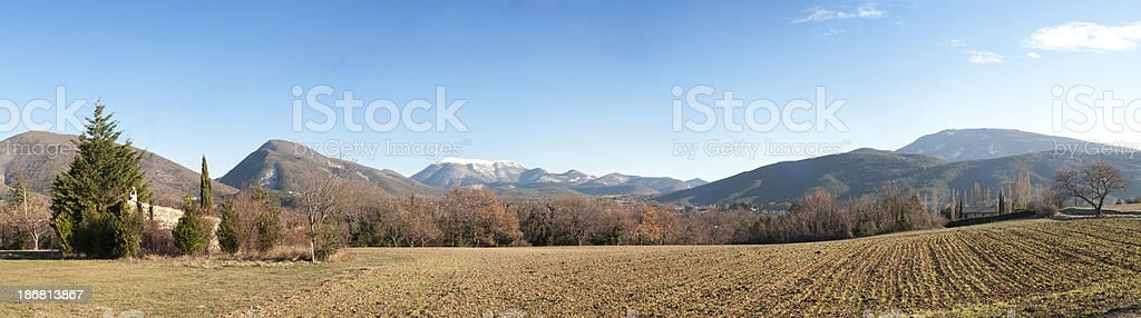 Panorama in winter, Provence stock photo