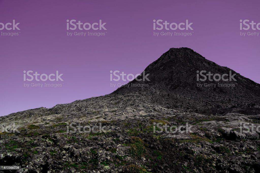 Panorama inside crater of Pico volcano and Piquinho pinnacle at sunset , Azores, Portugal stock photo