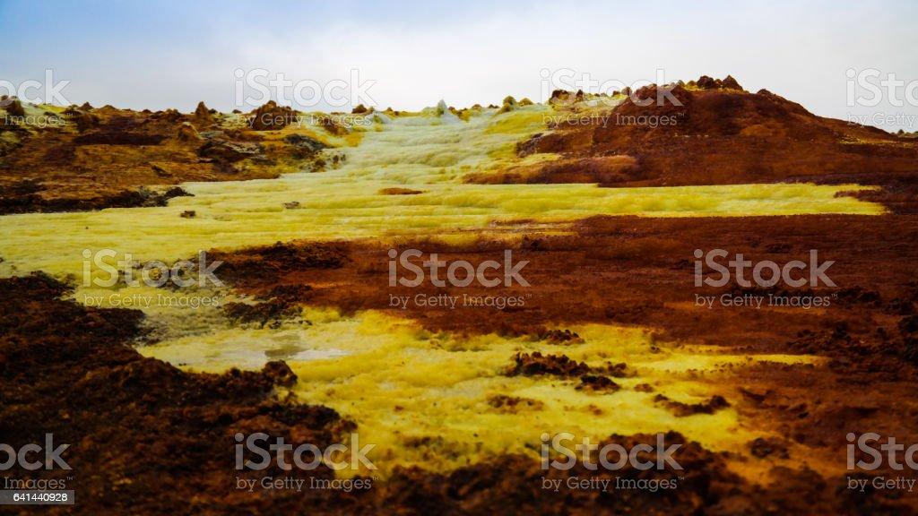 Panorama inside Dallol volcanic crater in Danakil depression, Afar Ethiopia stock photo