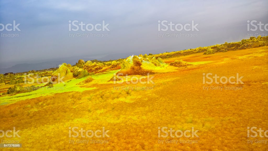 Panorama inside Dallol volcanic crater in Danakil depression, Afar Ethiopia stock photo