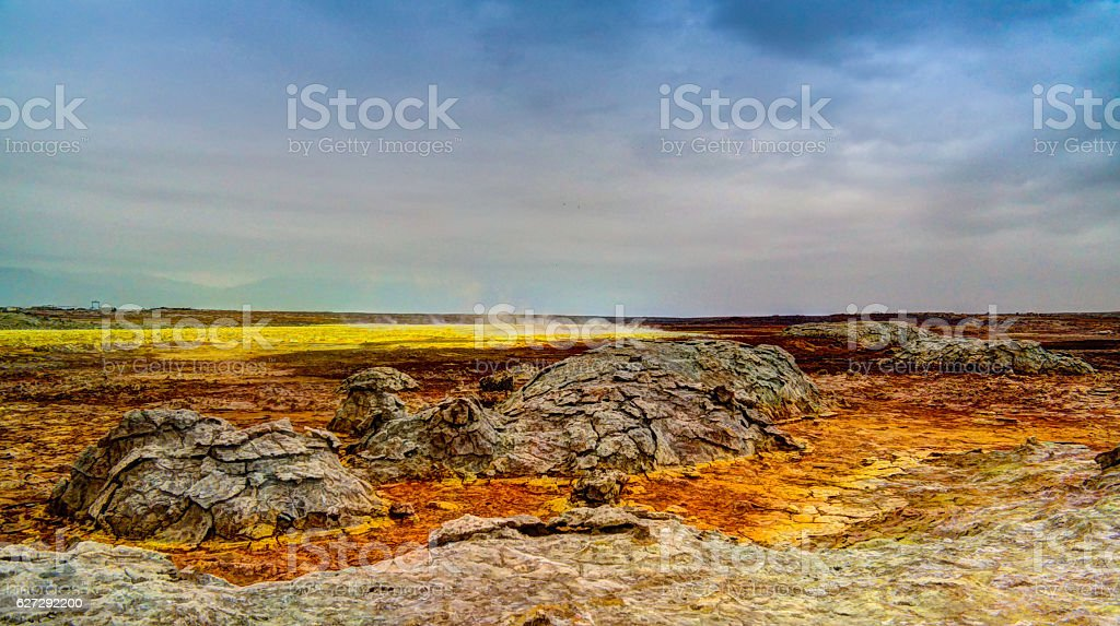 Panorama inside Dallol volcanic crater in Danakil depression, Ethiopia stock photo