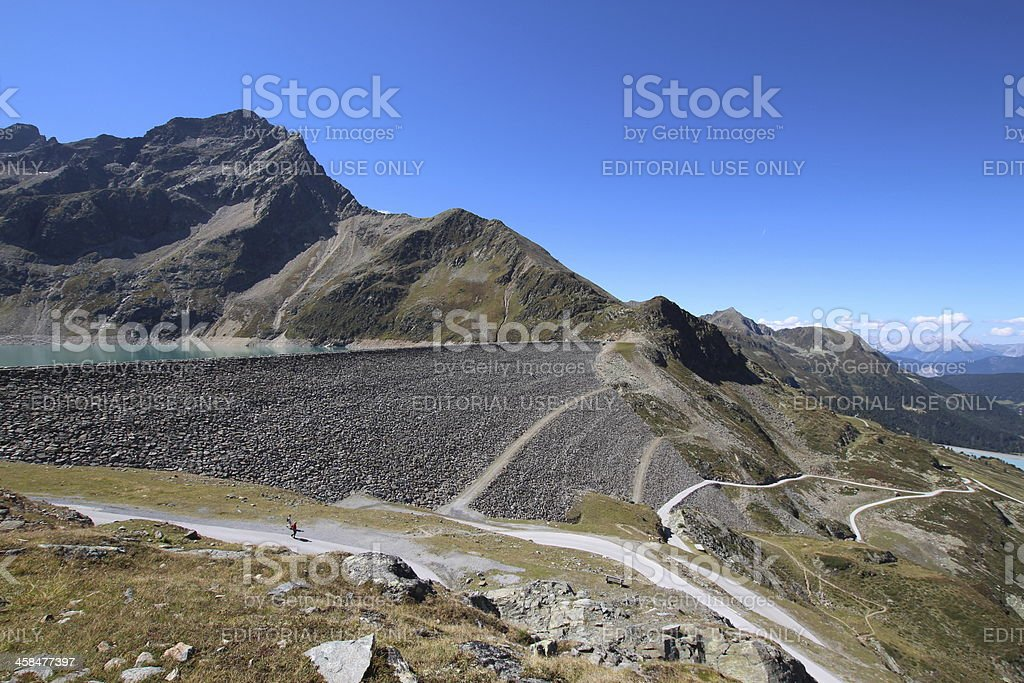 Panorama Kühtai, View Dam Speicher Finstertal, Tyrol, Austria royalty-free stock photo