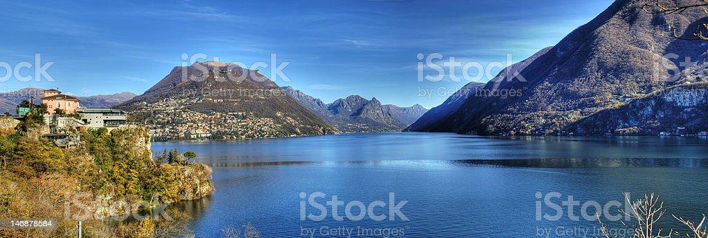 Panorama Lago Lugano royalty-free stock photo
