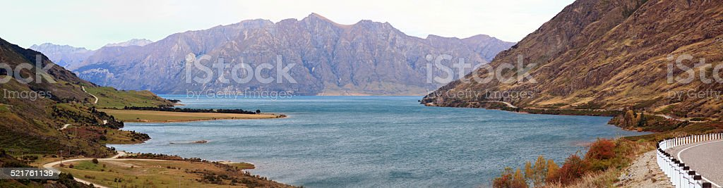 Panorama Lake Hawea New Zealand stock photo