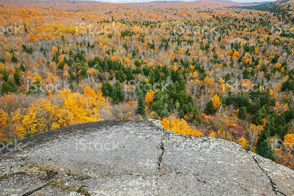 Panorama landscape autumn view near Lake Superior, Minnesota stock photo