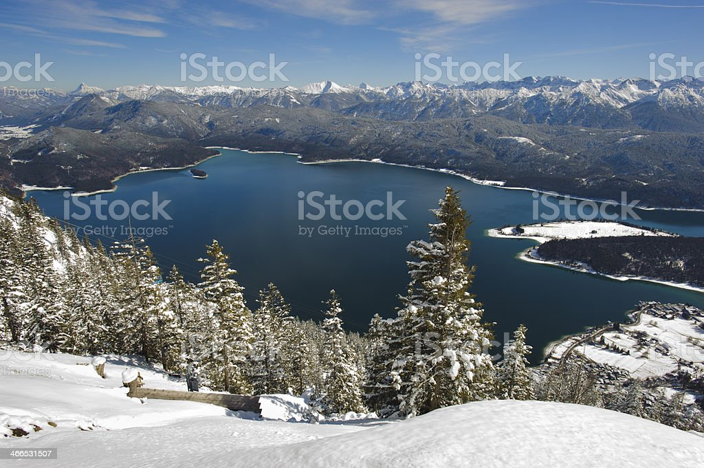 panorama landscape in Bavaria at winter stock photo
