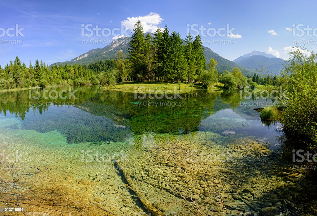 panorama landscape in Bavaria with mountains mirroring in lake stock photo