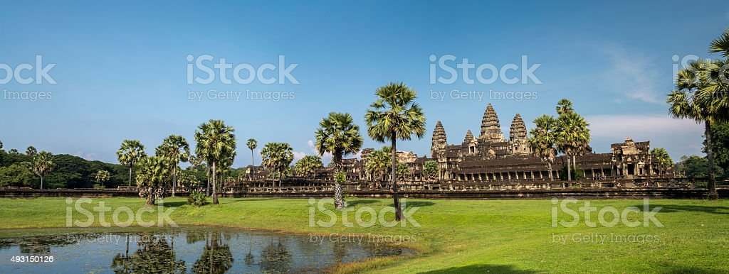 Panorama landscape of Angkor Wat temple in Cambodia stock photo