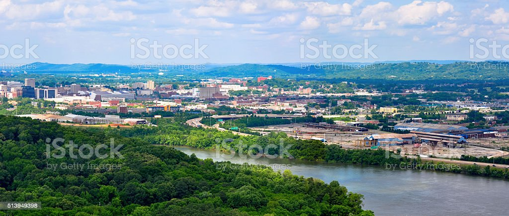 Panorama landscape of Chattanooga on the Tennessee River stock photo