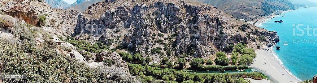 panorama landscape of meditrannean sea Crete island greece stock photo