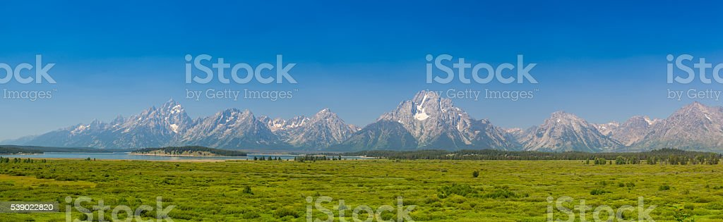 Panorama landscape - Teton mountains in Wyoming, USA. stock photo
