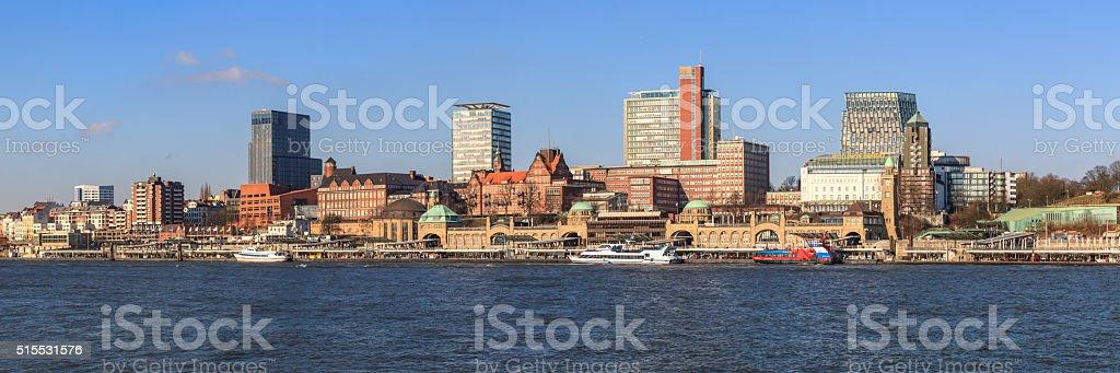 Panorama Landungsbrücken Hamburg stock photo