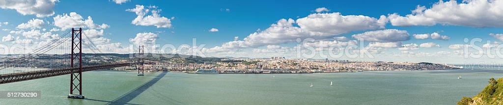 Panorama Lisbon Bridge stock photo