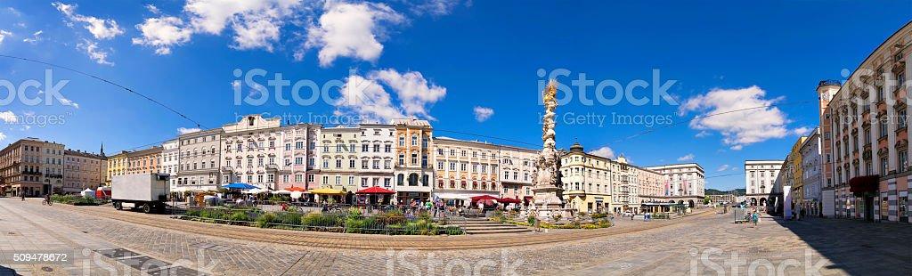 Panorama main square Linz stock photo