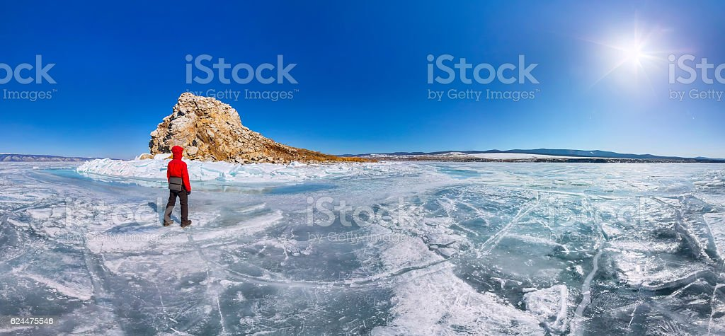 Panorama man tourist standing island Yador on blue ice stock photo
