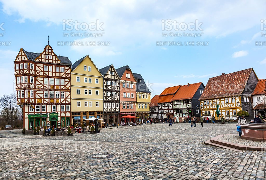 Panorama Marketplace Hessenpark, an open air museum stock photo