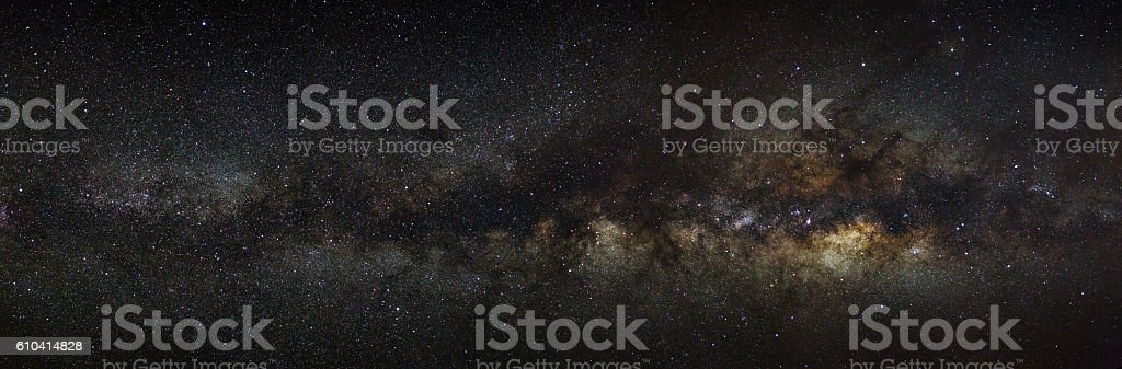 Panorama milky way galaxy.Long exposure photograph.with grain stock photo