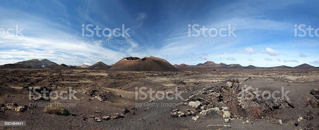 Panorama - Montana del Cuervo in Lanzarote royalty-free stock photo