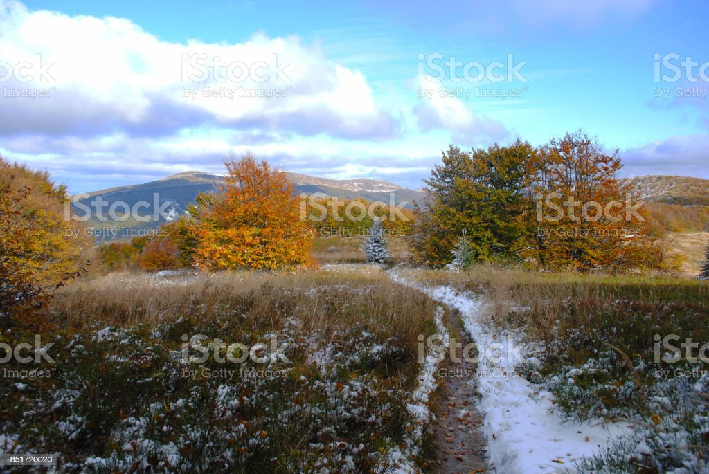 Panorama mountain autumn landscape. Bieszczady mountains stock photo
