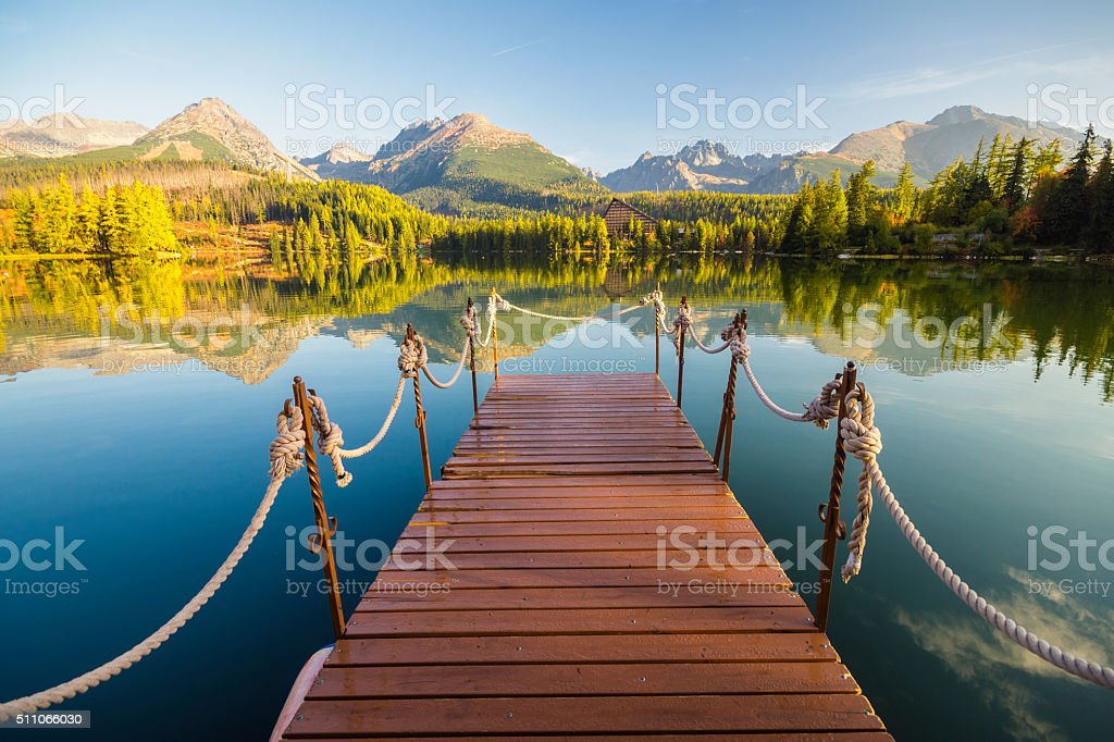Panorama mountain lake stock photo