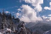 Panorama mountain winter landscape. Tatry