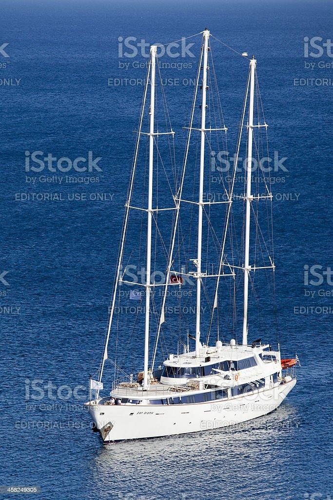 Panorama named Cruiser Coming to Bay royalty-free stock photo