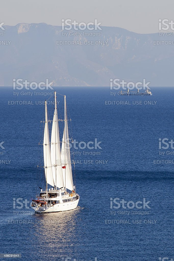 Panorama Named Cruiser Move Away From Bay royalty-free stock photo