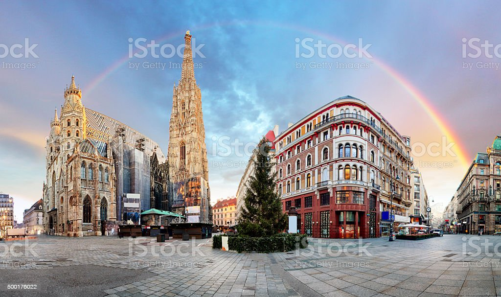 Panorama od Vienna square with rainbow - Stephens cathedral, nobody stock photo