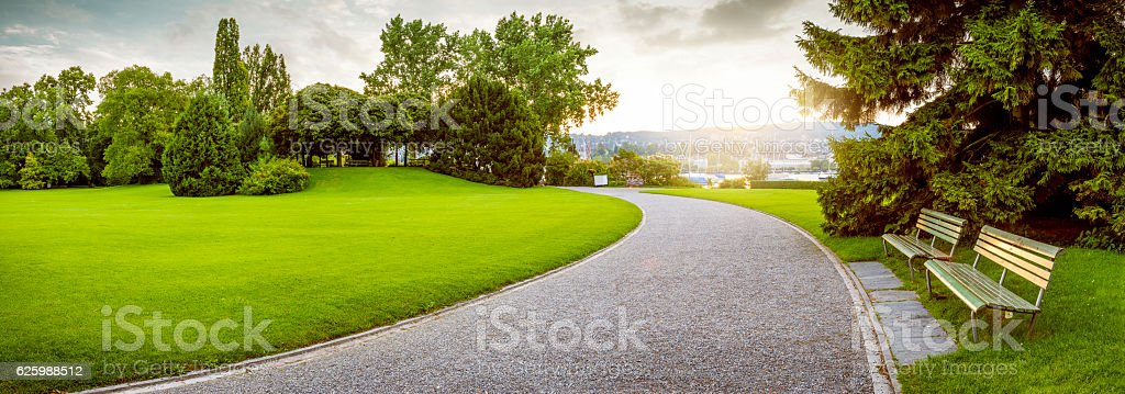 Panorama of a beautiful city park stock photo