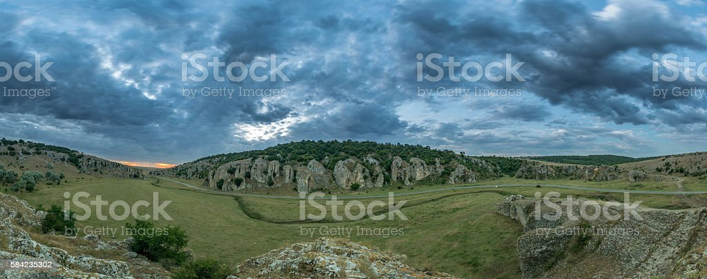 Panorama of a cloudy morning in Cheile Dobrogei, Romania stock photo