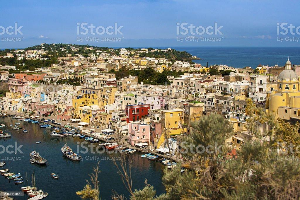 Panorama of a Fishing Village, Procida, Italy stock photo