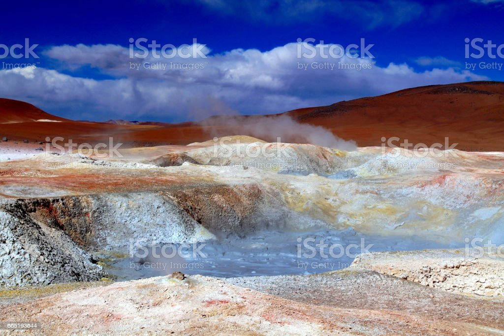 panorama of a geysers shines in every color stock photo