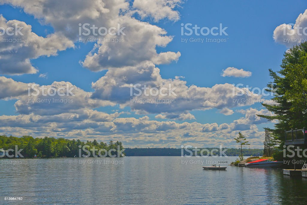 Panorama of a Lake in Muskoka, Ontario, Canada stock photo
