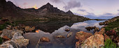 Panorama of a mountain lake in the Mercantour.