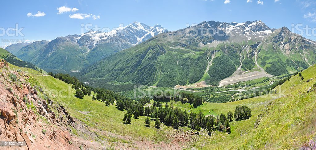 Panorama of a mountain valley in the Caucasus stock photo