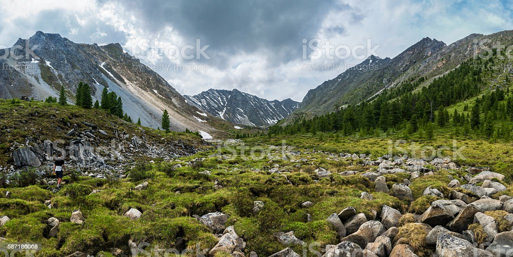 panorama of a mountain valley in Tunka range stock photo
