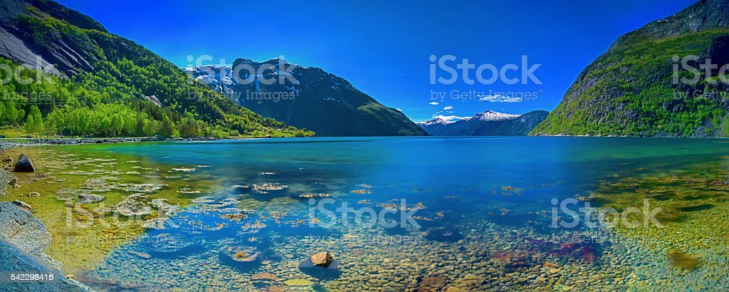 Panorama of a Norwegian fjord stock photo