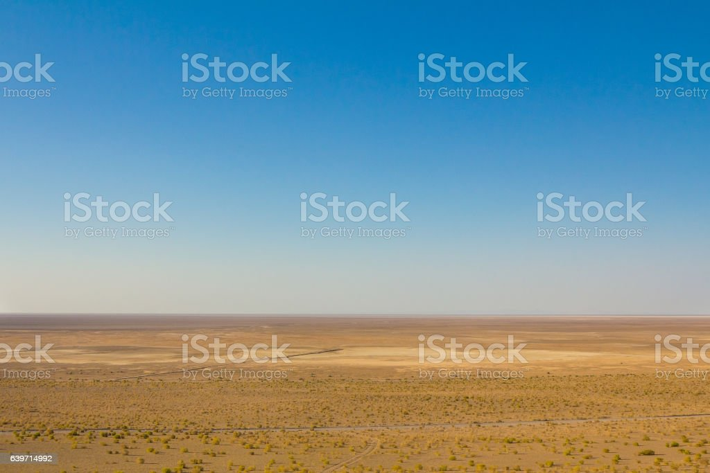 Panorama of a road on Maranjab desert, Iran stock photo