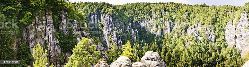 Panorama of a rock formation near the Bastei stock photo