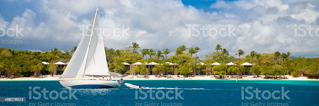 panorama of a sailboat traveling by St.John, US Virgin Islands stock photo