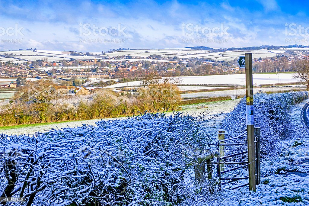 Panorama of a snow covered Dorset  town and hills, UK stock photo