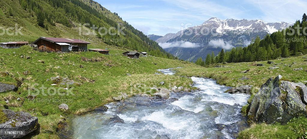 Panorama of a typical Austrian Alp stock photo